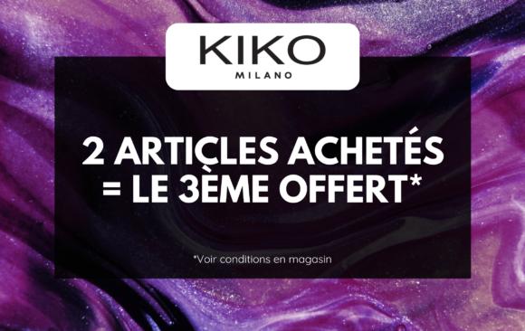 Kiko - 2 produits achetés, le 3ème offert